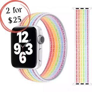 🎉NEW Neon White Rainbow Nylon Band for iWatch